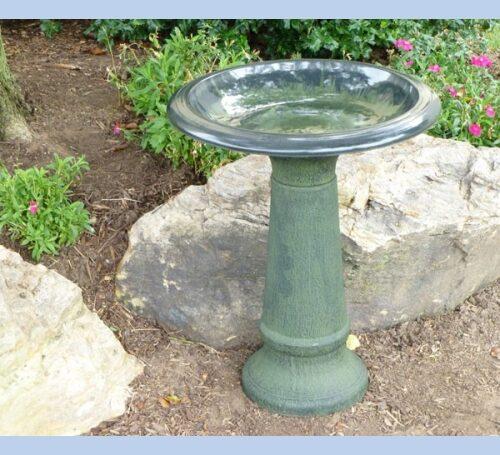 Green Fiber Clay Birdbath