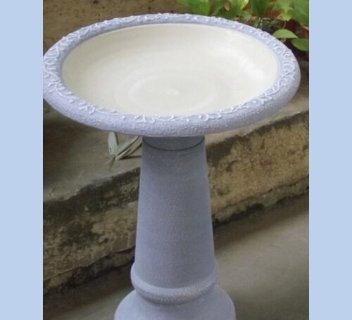 Blue Birdbath with Pedestal